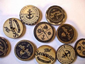 25mm Wood  Assorted BLACK Patterned Nautical Buttons Pack of 10 (1)